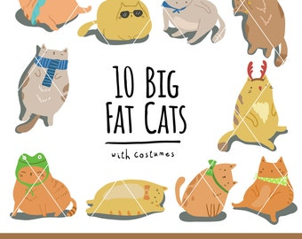 10 Hand Drawn Fat Cats with Fancy Costumes Downloadable Vector Clipart