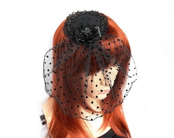 Gothic Fascinator with tulle veil