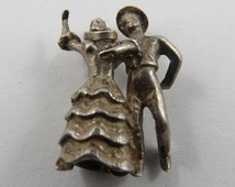 Sterling Silver Charm of a Couple Square Dancing.