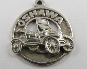 Fancy Car in Center of Oshawa Ontario Canada Sterling Silver Charm or Pendant.