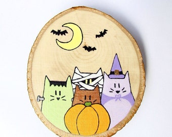 Halloween Cats Painting on Wood, Wood Slice Art, Halloween Decor, Halloween Art