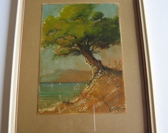 vintage original framed painting, tree by the sea signed
