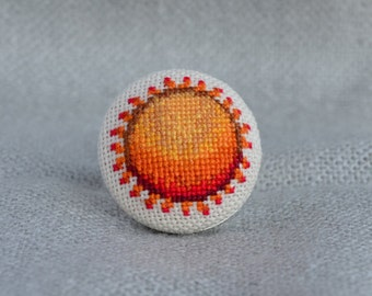 Sun ring Cross stitch ring Embroidered jewelry Sun jewelry Round ring Embroidered ring Tangerine sun Orange ring Gift for her Unique ring