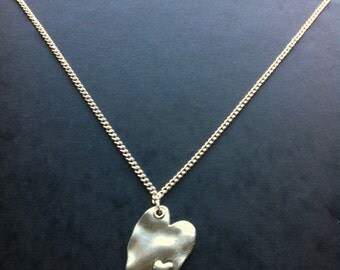 Silver Plated 18 inch Necklace with Unusual Large Heart Charm