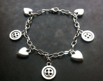 Silver Plated Charm Bracelet, Button Charms and Heart Charms