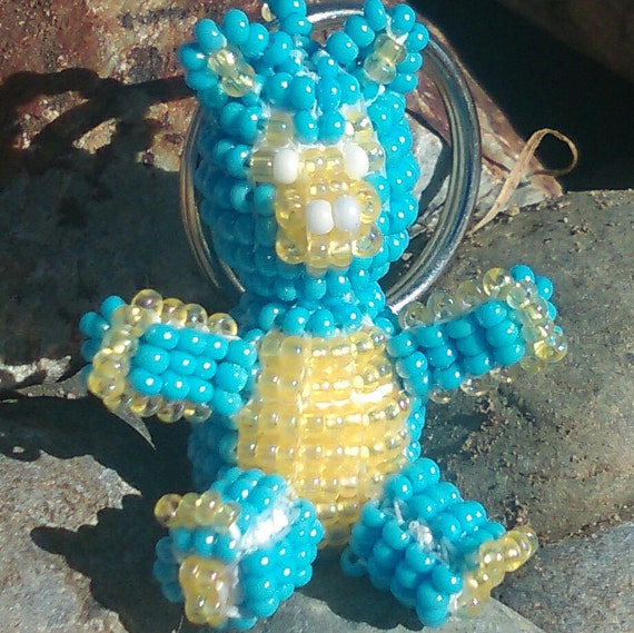 3D Light Blue / Yellow Beaded Bear Key-Ring with Czech Glass seed beads.