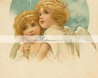 Antique Christmas Angels Peace Greeting Postcard Shabby Chic Art Image - Instant Art Printable Download - Altered Art Paper Crafts Scrapbook