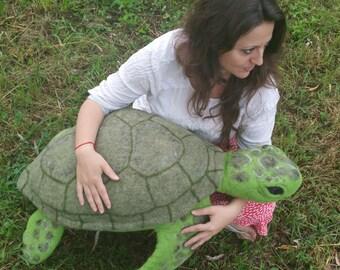 Felt green sea turtle, soft and big toy, stuffed animal, eco-friendly, merino wool and filler