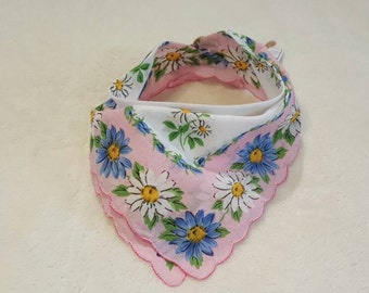 Handkerchief Scarf Baby Bandana Bib Vintage Blue and Pink Floral Scarf Neckerchief for Little Girl Baby Girl Toddler Girl Neck Covering