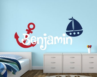 Personalized Nautical Name Wall Decal - Name Wall Decal - Baby Nursery Wall Decal - Anchor Sailboat Wall Decal- Nautical Vinyl Wall Decal