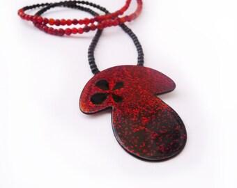 Fungi Pendant, Japanese Lacquer Pendant, Urushi Pendant, Japanes Lacquer Necklace, Art Japanese, Handmade Pendant, Jewelry Art, Cooper Jewel