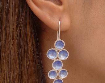 Buble Earrings, Sterling Silver Earrings,  Enamel Jewelry,  Designer Jewelry, Contemporary Jewelry, Enamel earrings, Silver Dangle Earrings