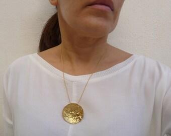 Gold Sphere  Pendant. 18 K Gold Plated Brass Pendant. Texture Jewelry. Nature Pendant. Handmade Gold Jewelry. Organic Shape Pendant.