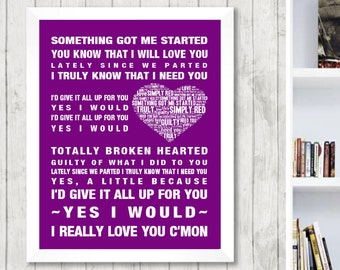 Simply Red Something Got Me Started Music Love Song Lyrics Word Art Print Poster Heart Design Wall Decor Framed Picture  Free UK Postage