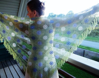 Crochet Multicolor Triangular Cotton Shawl.