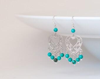 Turquoise chandelier earrings, Turquoise dangle earrings, Turquoise Chandeliers, Blue turquoise earrings, Earrings turquoise