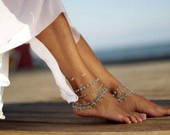 Turquoise Crystal desert breeze beach wedding barefoot sandals, bangle,cuff, wedding anklet,barefoot sandal,ankle cuff,boho sandal