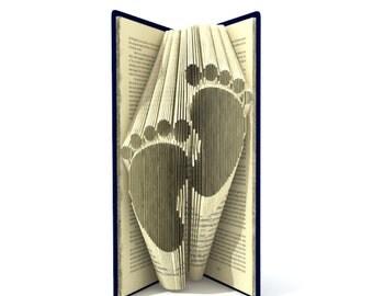 Bookfolding pattern - BABY FEET - 139 folds + Tutorial with Simple pattern - book art Heart -  FO0101