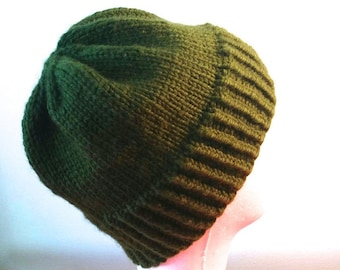 Chunky Knit Wool Toque | Chunky Knit Wool Beanie | 100% Wool | Hand Knit | Army Green