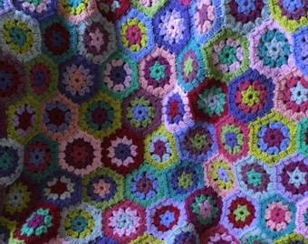 Handmade crochet hexi blanket