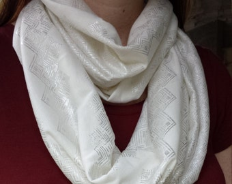 White & Silver Infinity Scarf