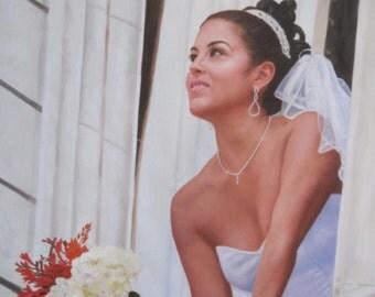 Bride Oil Custom Portrait. Wedding Custom Portrait. Custom Oil painting. Commission Wedding Painting. Wedding personalized gift. 6 Sizes.