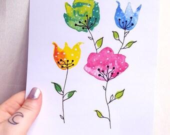 Watercolour flowers print A5
