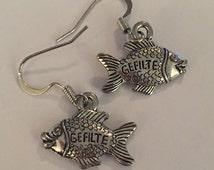 Lead Free Pewter Gefilte Fish Earrings, Passover Jewelry, Shabbat Earrings, Double Sided Earrings, Jewish Appetizer Jewelry