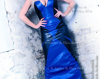 C + K long leather dress, leather, dress, corsage dress, off-the-shoulder, leather, black, royalblue, very shiny, pleather, handmade, new