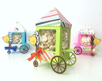 Circus favor boxes - Set of 12 | Carnival theme party decor | Circus birthday treat box | Popcorn car.