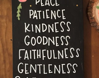 Fruits of the Spirit, Wood Sign, Painted Wood, Galations 5, Colorful,  Floral, Summertime, Christian, Dorm Decor