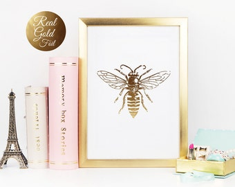 Gold Bee Print Real Foil Poster Wall Art Nursery