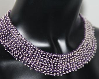 wire knitting,puple glass beads