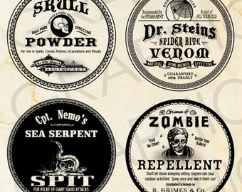 """2"""" Round Halloween Witch Labels Poison Apothecary Tags Potion Bottle Halloween Bottle Labels Printable Collage Sheet Clip Art Scrapbooking"""