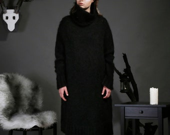 Dress knit black mohair ODD ONE OUT Knitwear. Made in Barcelona