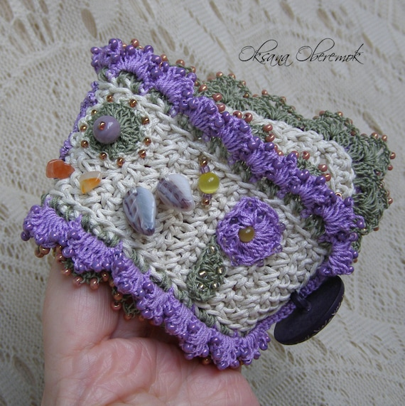 Crochet cuff with flowers Crochet cotton wide bracelet Crochet jewelry