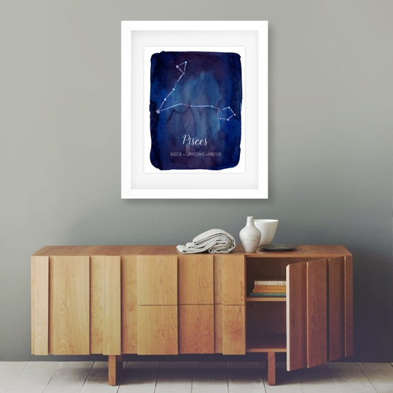 Pisces Wall Art Zodiac Printable Constellation By