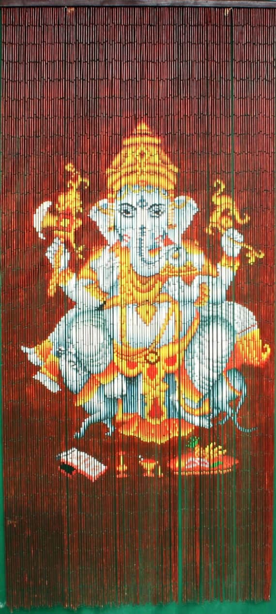 Hand painted bamboo beaded curtain ganesha 2 for Hand painted bamboo beaded curtains