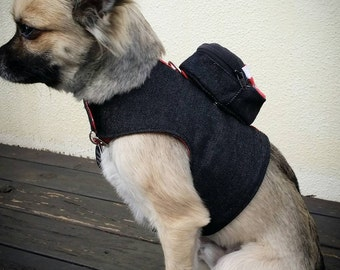 Dog Harness with Backpack, Denim Dog Vest, Pet Accessories, Chihuahua Harness