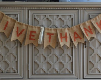 Give Thanks Banner, Fall Banner, Burlap Fall Banner, Rustic Fall Decor, Fall Decor, Thanksgiving Decor