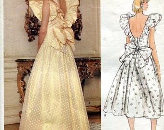 FREE US SHIP Vogue 1355 Vintage Retro 1980s 80s Pinafore Evening Length Dress Designer Bellville Sassoon Uncut 36 Bust Sz 14 Sewing Pattern