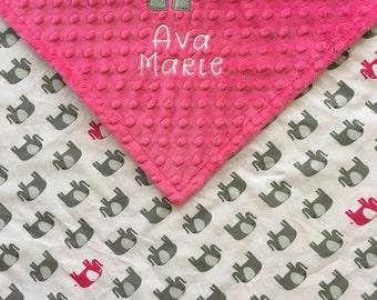 Elephant Baby Blanket, Elephant Minky Blanket, Pink Elephant Blanket, Elephant Theme, Elephant Baby Shower Gift, Personalized Baby Blanket