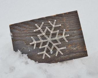 Let it Snow, Snowflake String Art, Rustic Barnwood