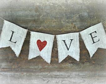 Burlap Wedding Banner, Love Banner, Burlap Bunting, Rustic Garland, Love