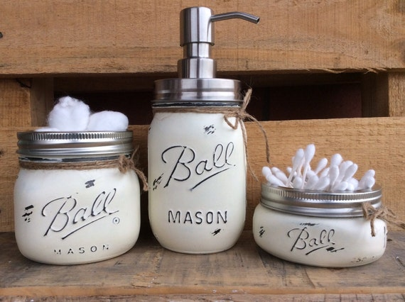 painted mason jars bathroom decor home decor beach bathroom decor