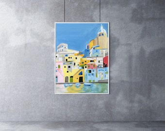 Italy Painting, 12 x 16, Oil Painting, Original Art, Procida Painting, Cityscape painting, colorful city painting, Italian Art