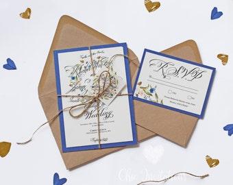 Floral Rustic Wedding Invitation. Rustic Invitation.Blue Vintage Invitation. Classic Invitation. Cute Wedding Invitation  Hacer una pregunta