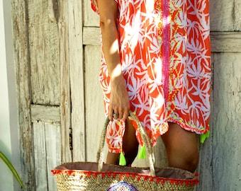 Kaftan tassels/Beach tunic/Beach cover up/Short dress/Resort wear * PALM KAFTAN