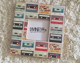 Cassette Tape Print Frame//Decorative Frame//Decoupage//Wall Decor//Home Decor