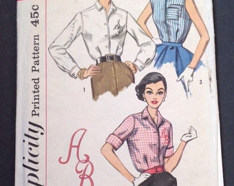 Simplicity 2195 Vintage Sewing Pattern 50s Shirtwaist Shirt Embroidered Blouse Size 14 Bust 34